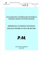 Priporočila za pripravo in izvedbo drugega predmeta poklicne mature