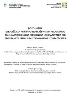 Naslovnica gradiva Dopolnjena izhodišča za pripravo izobraževalnih programov NPI in SPI, ter programov SSI