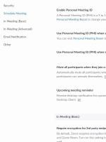 ZOOM - Nastavitve za planirane sestanke in generalne nastavitve sestankov v spletnem vmesniku