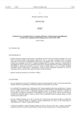 Resolucija Sveta o strateškem okviru za evropsko sodelovanje v izobraževanju in usposabljanju pri uresničevanju evropskega izobraževalnega prostora in širše (2021–2030)
