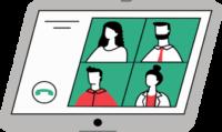 Ilustracija tabličnega računalnika, ki prikazuje spletni sestanek. Na monitorju tablice so izrisani štirje obrazi in gumb za klic.