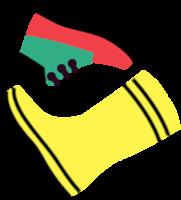 Ilustracija rumenega škornja in zeleno-rdečega pohodniškega čevlja.