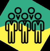 Ikonografika: Skupina petih ljudi na rumeno-zeleni podlagi.