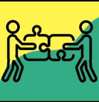 Ikonografika: dva možica na rumeno zeleni podlagi obrnjena drug proti drugemu, sestavljata dva kosa puzzla.