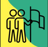 Ikonografika - dva možica z zastavo na rumeno zeleni podlagi.