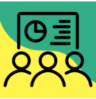 Ikonografika - na rumeno zeleni podlagi so izrisane silhuete treh ljudi, v ozadju je ura z urnikom.