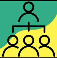 Ikonografika predavanja - na rumeno zeleni podlagi je izrisana silhueta predavatelja in silhuete treh ljudi v občinstvu.