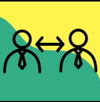 Ikonografika za komunikacijo med dvema osebama. Dva možica sta izrisana na zeleno rumeni podlagi, med njima je dvosmerna puščica.