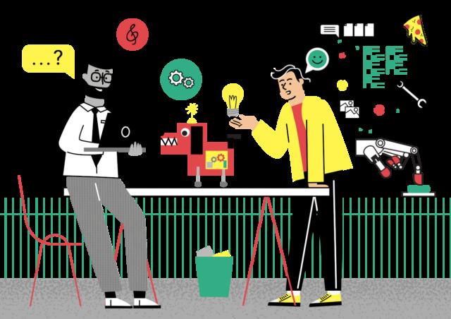 Ilustracija učitelja in dijaka med pogovorom ob mizi. Na mizi je dijakov izdelek: rdeč električni pes z rumeno lučko na glavi. Dijak, z eno dlanjo naslonjen na zgornjo ploščo mize, učitelju razlaga, kako je prišel od ideje do izdelka. Njegove misli in govor so v obliki miselnega vzorca s podobami rumene žarnice, matic, violinskega ključa, slušalk, kolesa, listov, pice, slik, delovnega ključa in robotske roke z rdečimi konicami prstov, ki s kazalcem pritiska na zeleni gumb. Učitelj je naslonjen na mizo, v rokah drži prenosni računalnik in dijaku postavlja vprašanja.