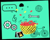 Ilustracija kolesa, rumene košare z rdečimi češnjami, sličic, dveh zobnikov, violinskega ključa, francoskega ključa, ježka, globusa in pogovornega oblačka na zeleni podlagi.
