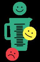 Ilustracija merilne posode s tremi obrazi smeška: zeleni nasmejani obraz zgoraj, rumeni resni obraz v sredini, rdeči žalostni obraz spodaj.