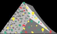 Ilustracija sive piramide, ki je 'popackana' z rdečimi, rumenimi, zelenimi in temno sivimi lisami različnih velikosti. Na piramidi so še tri rumene žarnice.