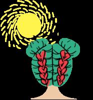 Ilustracija deklice z zelenimi lasmi in kitami rdeče barve. Levo nad njeno glavo je narisano sonce. Nad njeno glavo je narisana še jata ptic.