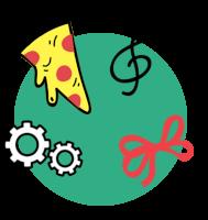 Ilustracija zelenega kroga, na katerem so narisani rumen kos pizze, violinski ključ, rdeča pentlja in dva bela zobnika.