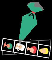 Ilustracija zelene dresirne vrečke, ki izrisuje sličice štirih obrazov: moški obraz z rumenimi lasmi, ženski obraz z rdečimi lasmi, ženski obraz z belimi lasmi in ženski obraz z zelenimi lasmi. Obrazi so izrisani na črtni podlagi.