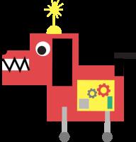 Ilustracija rdečega robotskega psa z rumeno lučko na glavi.