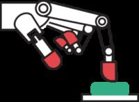 Ilustracija bele robotske roke, z rdečimi konicami prstov. Kazalec pritiska na zelen gumb.