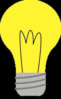 Ilustracija rumene žarnice s črno žarilno nitko in sivim grlom z navojem.
