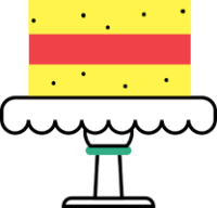Ilustracija rumeno rdeče torte na belem podstavku.