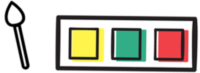 Ilustracija palete z rumeno, zeleno in rdečo barvo, ter čopičem.