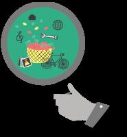 Ilustracija roke, ki drži lupo. Pod lupo so globus, kolo, košara s češnjami, male slikice, violinski ključ, ježek in francoski ključ.