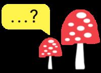 Ilustracija velike in male gobe mušnice. Levo nad mušnicama je rumen pogovorni oblaček.