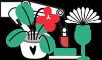 Ilustracija robotske roke. Levo pred roko je narisana lončnica. Cvetica ima rdeč cvet in zelene liste in stebla, posajena je v bel lonček s črnim srčkom. Desno pred roko je narisan zelen kozarec z belo pahljačo.