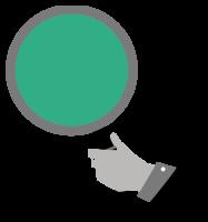 Ilustracija roke z lupo.