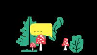Ilustracija gozdnih rastlin, mušnic in ježa. Nad njimi sta levo in desno po en pogovorni oblaček.
