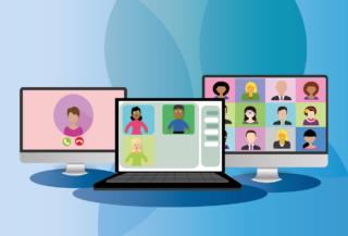 Grafika: video konferenca na treh računalniških monitorjih